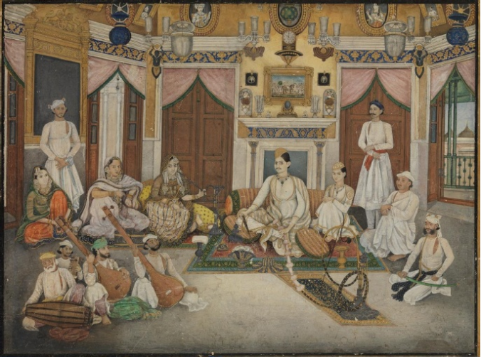 Mirza Fakhruddin, seated in the middle of entertainment, painted by Ghulam Ali Khan in 1852 (image courtesy www.academia.edu)